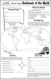 continents of the world worksheet worksheets