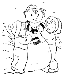 kids making a snowman coloring pages to print winter coloring