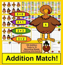 addition facts 100 turkeys for thanksgiving math tpt