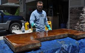 how to clean concrete table top patio bar plans concrete counter and cedar base