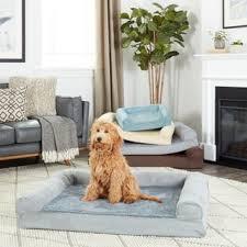 furhaven plush u0026 suede sofa style orthopedic bolster pet bed
