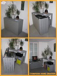 bureau caché en palettes recyclées pallet desk 1001 pallets