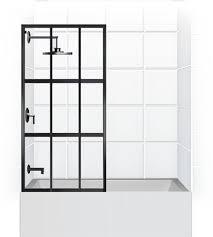 Shower Door Width Gridscape Series Factory Windowpane Shower Screen For Bathtub