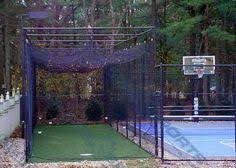 Cheap Backyard Batting Cages Small Side Yard Basketball Court W Boxwood And Net Barriers