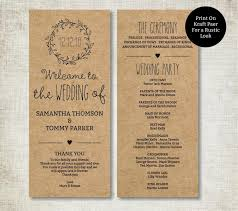 kraft paper wedding programs classic wreath wedding program template editable text