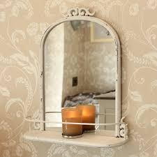 Antique Bathroom Mirror Antique Style Mirror With Shelf Distressed Metal Scroll Arch