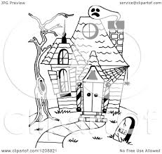 cartoon of a black and white halloween haunted house royalty