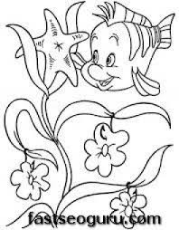 printable flounder mermaid coloring pages girls