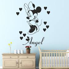 3 sizes minnie mouse with personalised name wall sticker decal for 3 sizes minnie mouse with personalised name wall sticker decal for kids bedroom girls room decoration wallpaper design