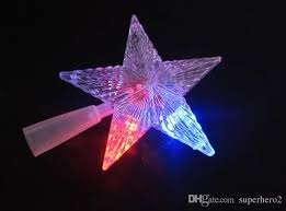 pentagram star led xmas tree topper fairy light multi color flash