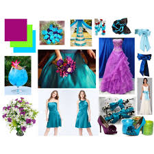 purple burgundy lime green and turquoise teal themed wedding