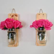 amazon com set of two handmade rustic mason jar wall sconce light