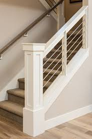 Indoor Handrails For Stairs Contemporary Newel Post And Railings Wires Instead Of Balusters Is Probably