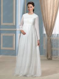 pregnancy wedding dresses modern scoop neck sleeves zipper up maternity wedding dress
