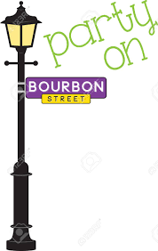 bourbon sign bourbon sign and l post for mardi gras royalty free