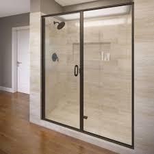 Pivot Hinges For Shower Doors Basco Infinity 59 In X 76 1 8 In Semi Frameless Hinged Shower