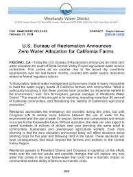 federal bureau of reclamation u s bureau of reclamation announces zero water allocation for