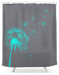 society6 gray and teal dandelion shower curtain contemporary