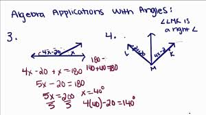 geometry 1 algebra applications with angles youtube