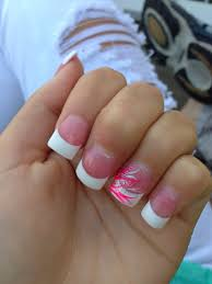 pink and white tips with pink accent nail nails pinterest