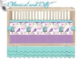 Purple And Aqua Crib Bedding Custom Crib Bedding Sing Song Aqua Purple Pink Birdie