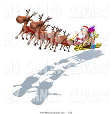 santa and his reindeer clipart 32