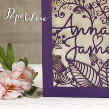 laser cut invitations violet laser cut personalised name flowers wedding invitations