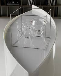 Curved Sideboard Extra Clear White Curved Sideboard Made Of Glass Shark By