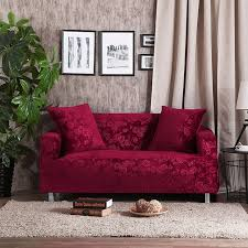 red wine l shaped sofa cover solid color sofa throw cover stretch