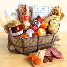 gourmet food in a wire gift basket california delicious