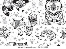 Black White Woodland Animals Pattern Scandinavian Stock Vector Woodland Animals Coloring Pages