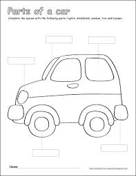 Car Worksheet Label And Colour The Parts Of The Car Free Printable Children S