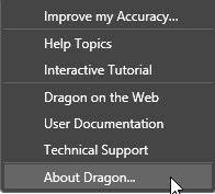 dragon naturally speaking help desk which version of dragon naturally speaking do i have