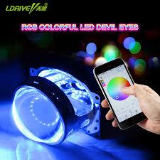 app controlled car lights ldrive 2pc 12v 6colors app control car headlight hid projector lens