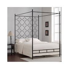 Iron Canopy Bed Frame Metal Canopy Bed High Headboard Black Full Size Frame 4 Post