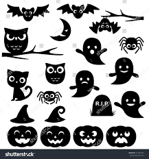 halloween silhouette png vector collection different cute black halloween stock vector