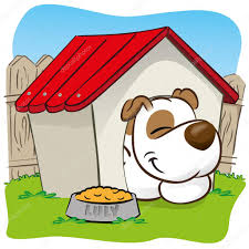 Backyard Clip Art Illustration Representing A Pet Dog In The Backyard Sleeping In