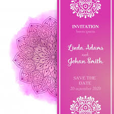 pink wedding invitation template vector free download