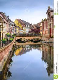 colmar petit venice water canal and traditional houses alsace