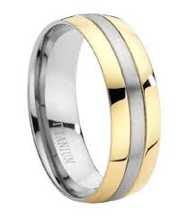 men s wedding bands two tone titanium 8mm comfort fit wedding ring with brushed finish