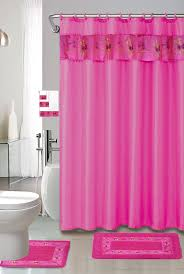 Bathroom Sets Shower Curtain Rugs by Amazon Com Hot Pink 18 Piece Bathroom Set 2 Rugs Mats 1 Fabric