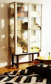 Ikea Stockholm Glass Door Cabinet Stockholm Glass Door Cabinet In Beige Filled With Bed Linen By