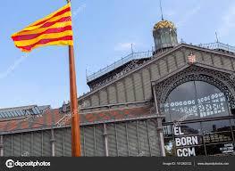 Barcelona Spain Flag Exterior Facade And Catalan Flag Entrance Of El Born Cultural And