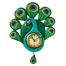 amazon com allen designs pretty peacock clock home u0026 kitchen
