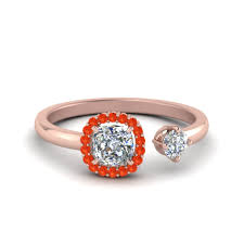 cushion halo engagement rings cushion cut halo open engagement ring with poppy topaz in