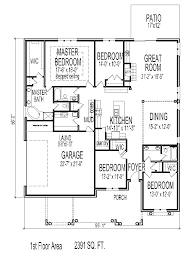 craftsman one story house plans ranch house plans 2500 square feet arts 4 bed 3 bath planskill 14
