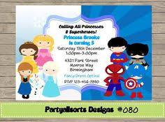 superhero princess birthday party invitation by pinkthecat