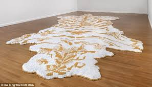 Bare Skin Rug Artist Xu Bing Makes U0027tiger Skin U0027 Rug Out Of 50 000 Cigarettes