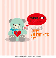 s day teddy happy valentines day teddy wish stock vector 785036533