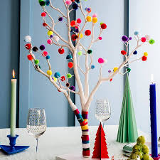 pom pom christmas tree traditional christmas tree pink yellow